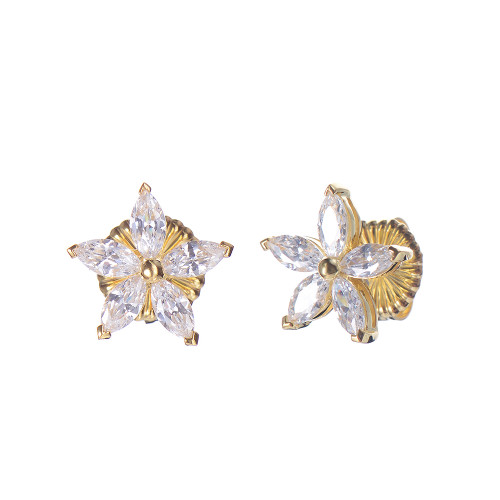 Star CZ Stud Vermeil Earrings