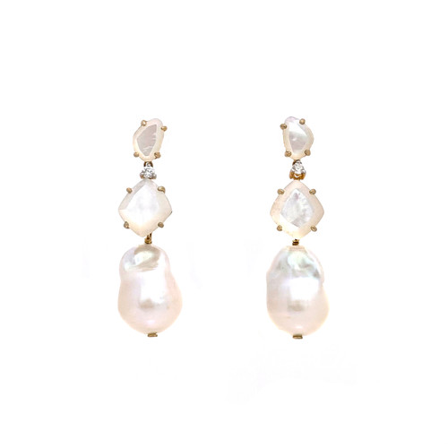 Fancy-cut Mother of Pearl and Baroque Pearl Drop Earrings