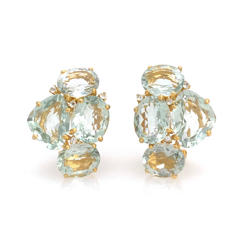 Fancy-cut and Oval Green Amethyst Cluster Earrings