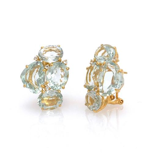 Fancy-cut and Oval Green Amethyst Cluster Earrings