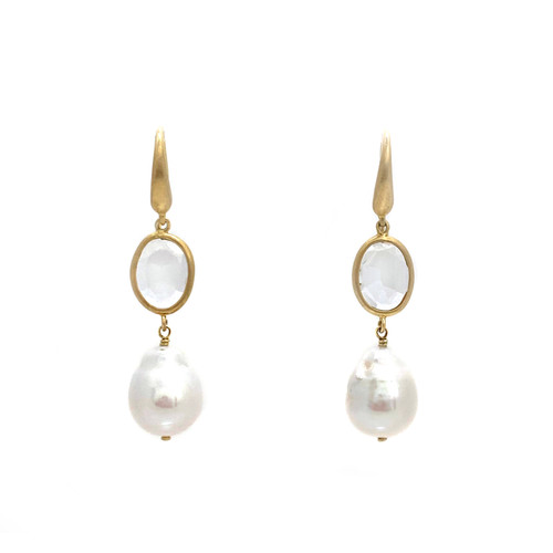 Bezel set White Topaz and Baroque Pearl Hook Earrings