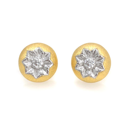 Engraved Flower Round Button Vermeil Earrings