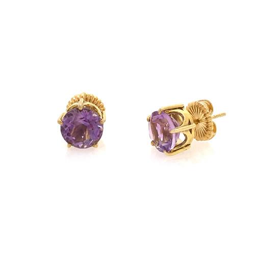 A Pair of 2.5ct Round Amethyst Stud Earrings