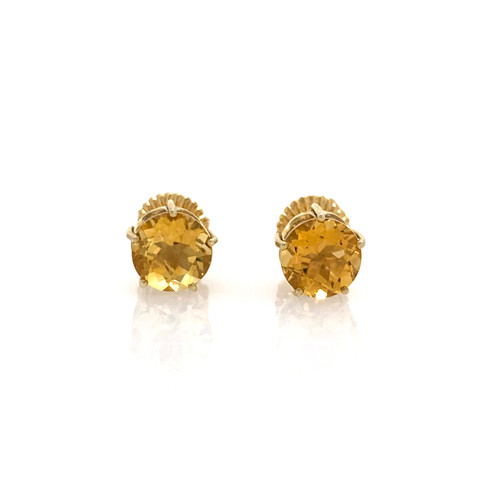 A Pair of 2.5ct Round Brazilian Citrine Stud Earrings