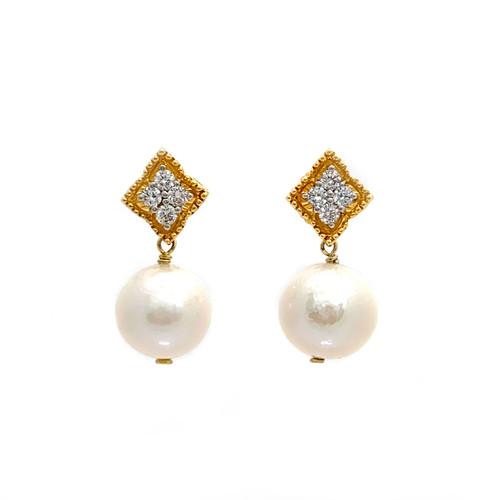 Beaded Diamond Shape Top and 14mm Cultured Pearl Drop Earrings