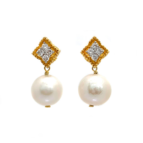 Beaded Diamond Shape Top and 14mm Cultured Pearl Drop Earrings