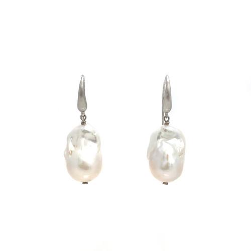 White Baroque Pearl Hook Earrings
