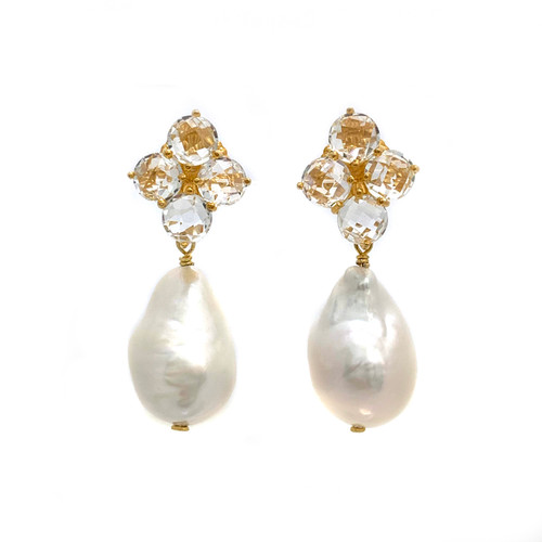 Round Briolette White Topaz and Baroque Pearl Drop Earrings