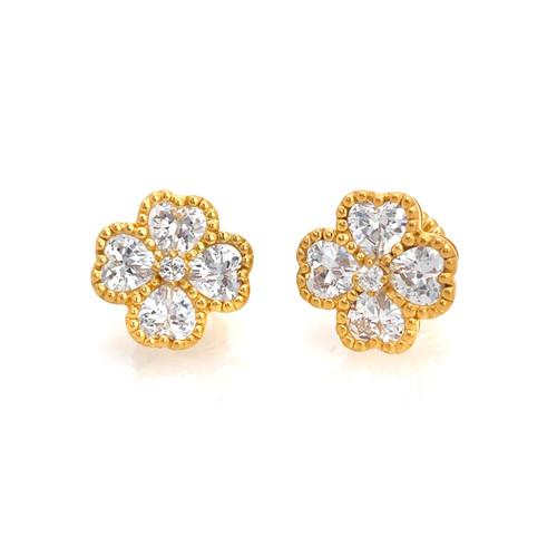 Bezel-set Faux Diamond Flower Button Vermeil Earrings