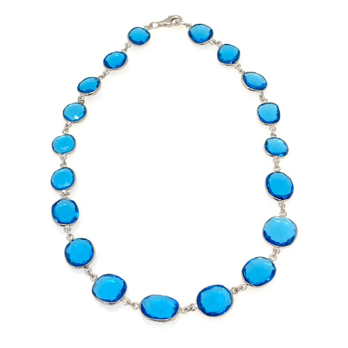Bezel-set Rose-cut Swiss Blue Quartz Necklace