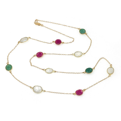 Bezel-set Emerald Jade, Ruby Jade, Moonstone Long Station Necklace