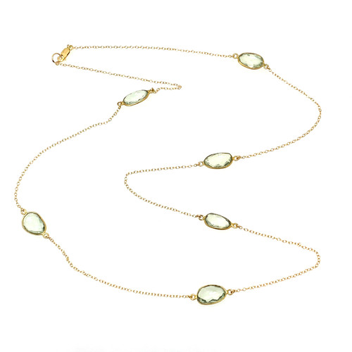 Bezel-set Green Amethyst Long Station Necklace