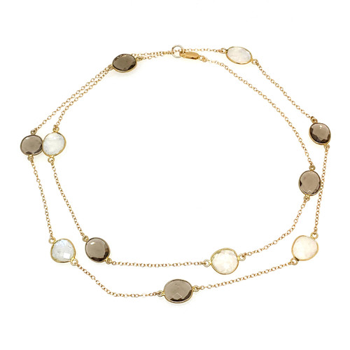 Bezel-set Smoky Quartz and Moonstone Long Station Necklace