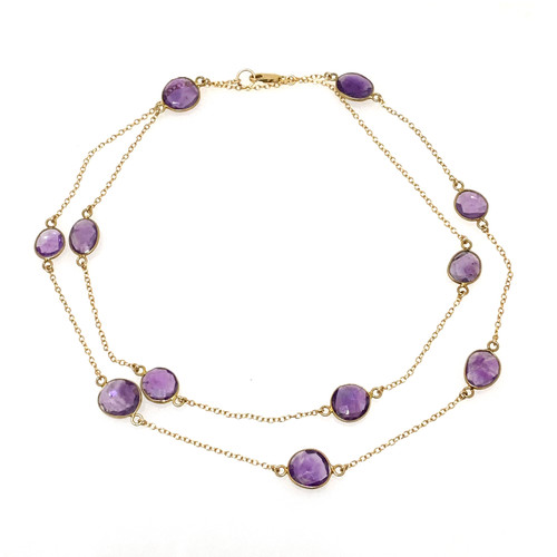 Bezel-set Amethyst Long Station Necklace