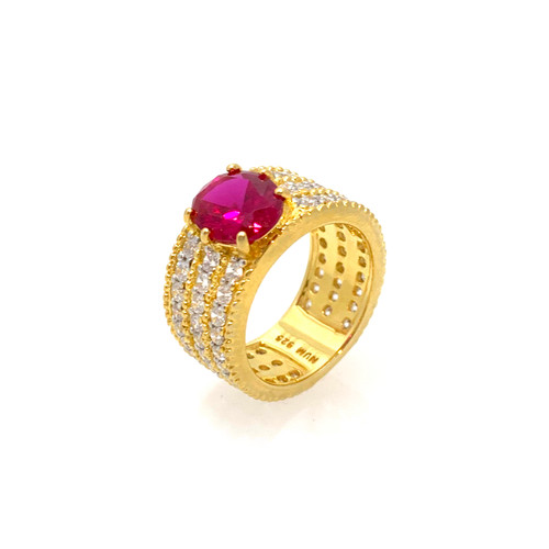 2ct Oval Lab-created Ruby Center Band Ring