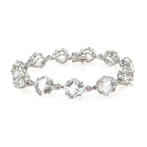 Fancy-cut White Topaz Bracelet