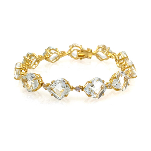 Fancy-cut White Topaz Vermeil Bracelet