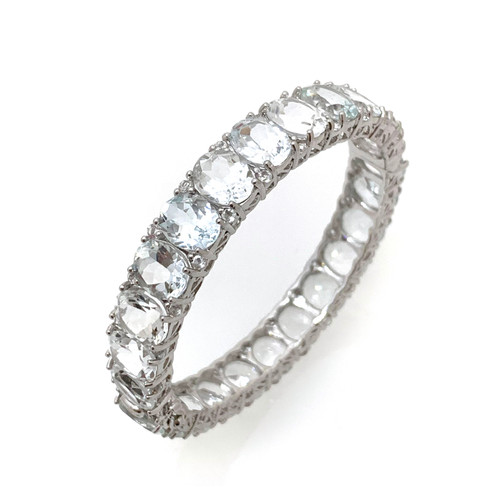 All Around Oval White Topaz Bangle