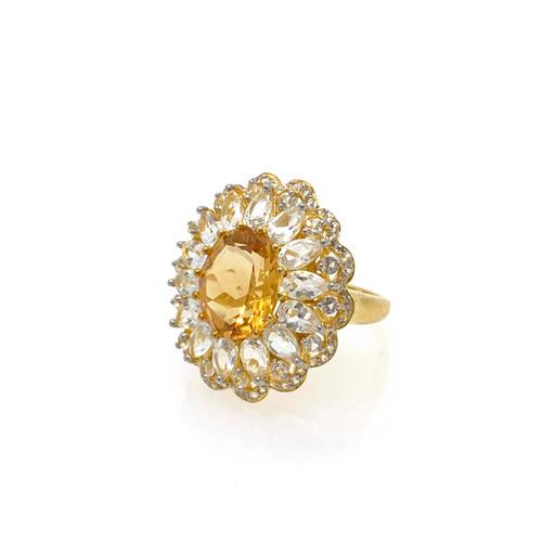 Oval Citrine and White Topaz Flower Ring