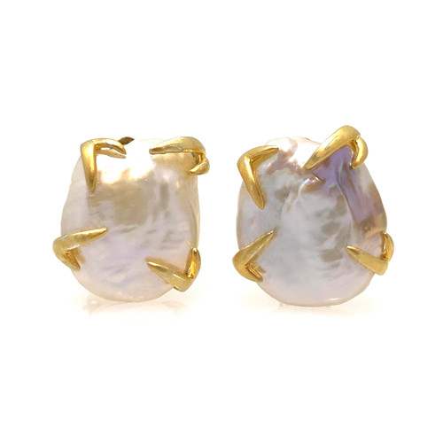 20mm Cultured Baroque Pearl Button Clip-on Vermeil Earrings