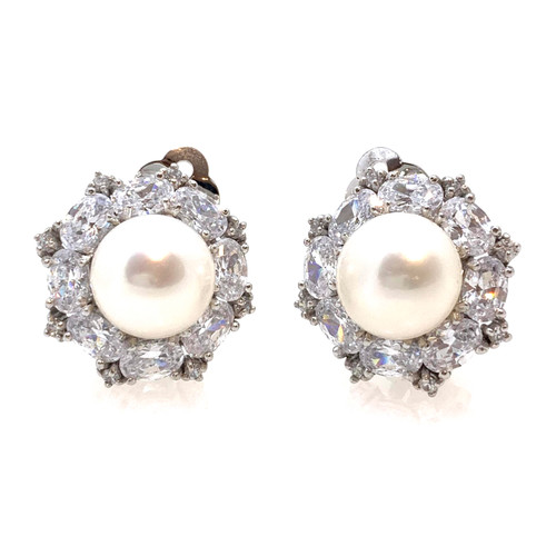11mm Cultured Pearl Center Clip-on Earrings