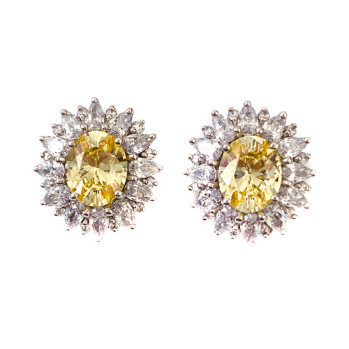Elegant Oval Canary Center Button Earrings