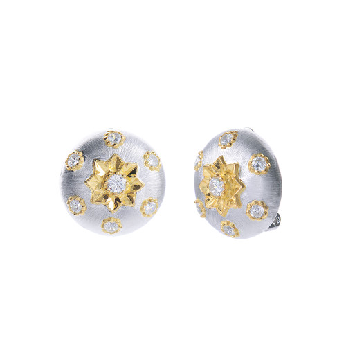 Engraved Flower Pattern Round Button Clip-on Two-tone Earrings