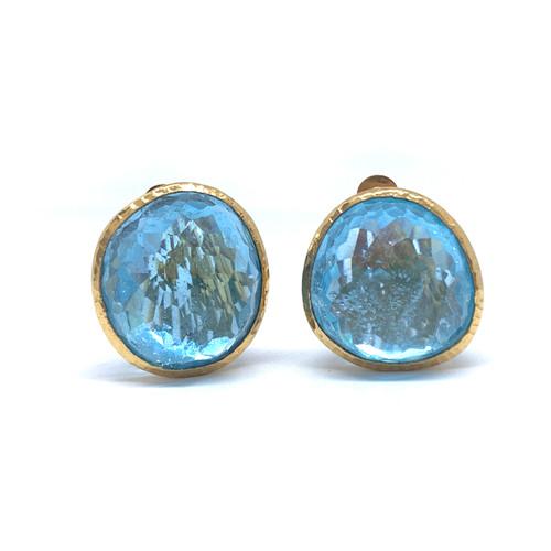63ct Rose-cut Blue Topaz Button Vermeil Earrings
