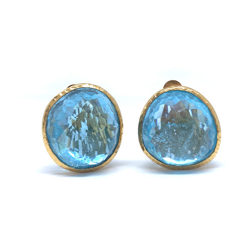 63ct Rose-cut Blue Topaz Button Vermeil Earrings