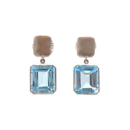 Octagon Blue Topaz Drop Silver Earrings