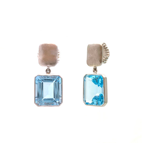 Octagon Blue Topaz Drop Silver Earrings