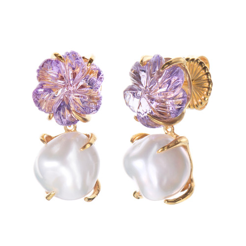Carved Amethyst Flower and Cultured Pearl Drop Earrings