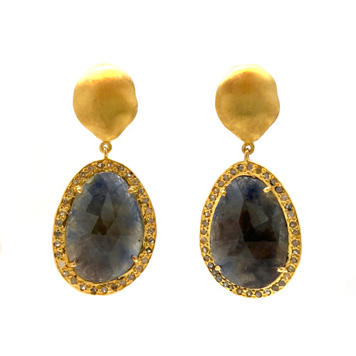 Rose-cut Natural Sapphire and Raw Diamond Drop Earrings