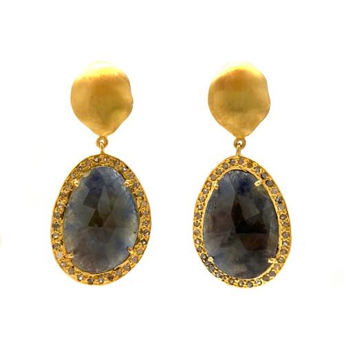 Rose-cut Natural Sapphire and Raw Diamond Drop Earrings
