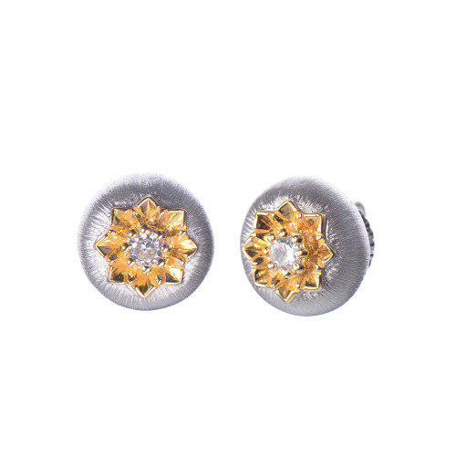 Engraved Flower Round Stud Two-tone Earrings