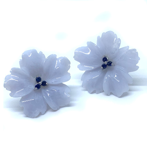 Carved Chalcedony Flower and Sapphire Earrings