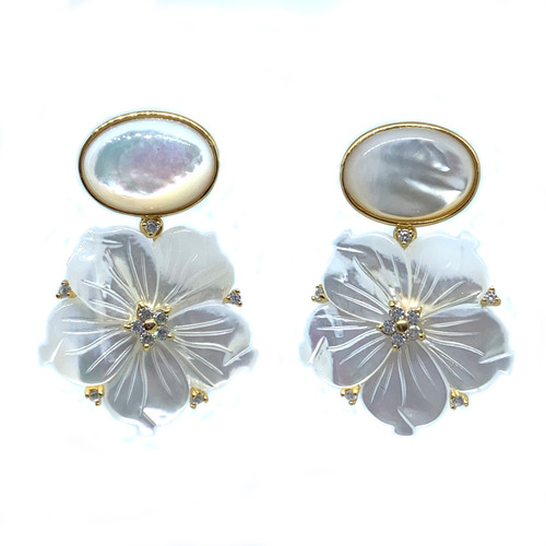 Oval Mother of Pearl and Carved Mother of Pearl Flower Drop Earrings