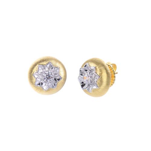 Engraved Flower Round Stud Vermeil Earrings