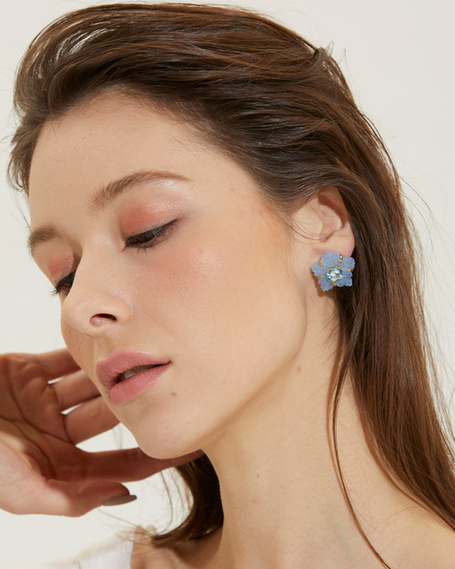 Carved Blue Quartzite Flower with Blue Topaz Earrings