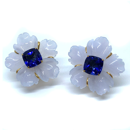 Carved Chalcedony Flower with Sapphire Earrings