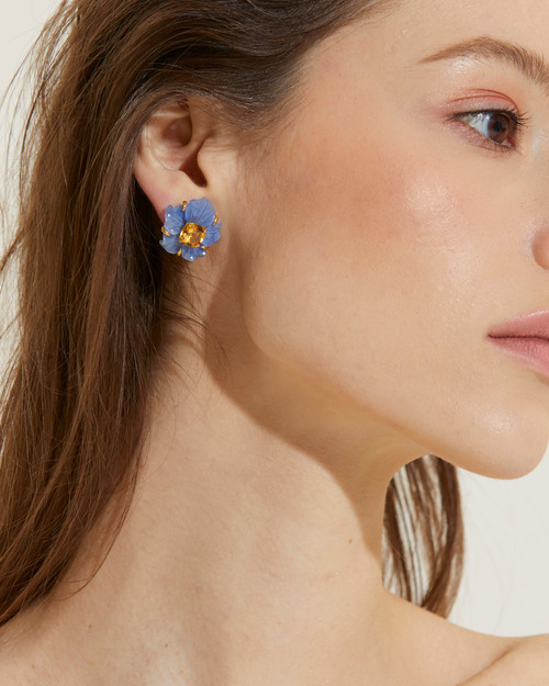 Carved Dumortierite Flower with Citrine Earrings