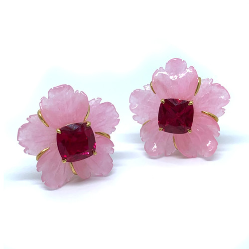 Carved Pink Quartzite Flower with Ruby Earrings
