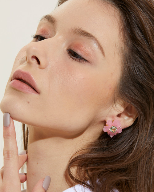 Carved Pink Quartzite Flower with Green Amethyst Earrings