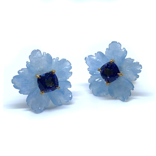 Carved Blue Quartzite Flower with Cushion Sapphire Button Earrings