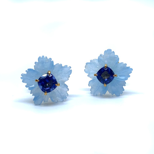 Small Carved Blue Quartzite Flower with Cushion Sapphire Stud Earrings
