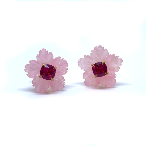 Small Carved Pink Quartzite Flower with Cushion Ruby Stud Earrings