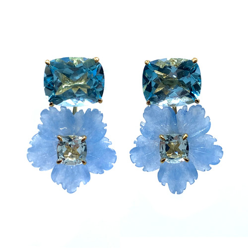 Cushion-cut Blue Topaz with Carved Blue Quartzite Flower Drop Earrings