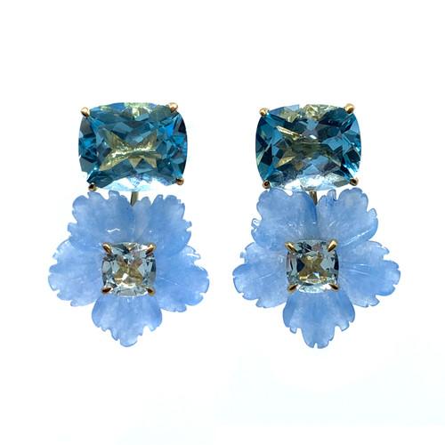 Cushion-cut Blue Topaz with Carved Blue Quartzite Flower Drop Earrings