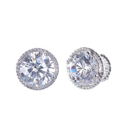 Large Round Faux Diamond Stud Earrings