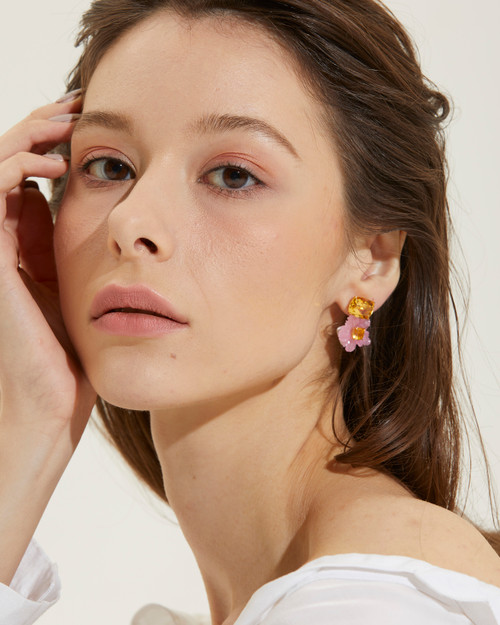 Cushion-cut Citrine with Carved Pink Quartzite Flower Drop Earrings